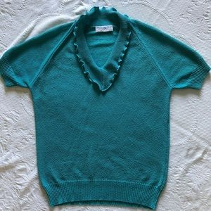 Vintage Teal Boucle Knit Top with Ruffled Collar